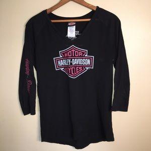 Harley Davidson black pink sheer front long sleeve